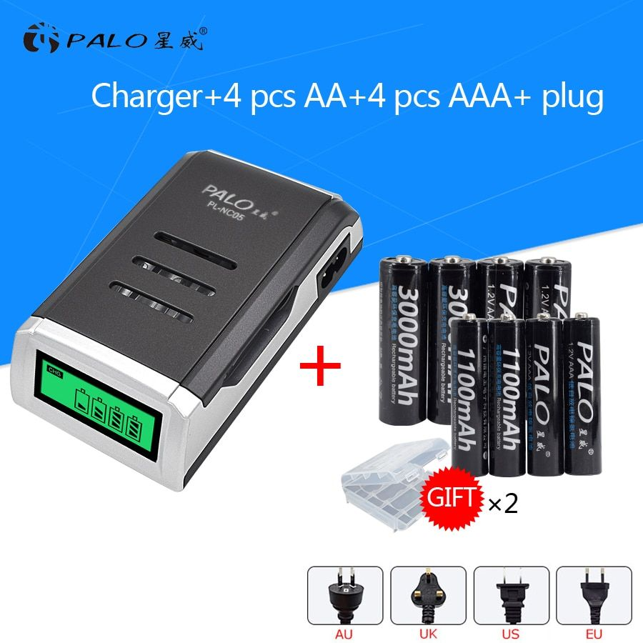 4PCS 1.2 V NI-MH aa rechargeable batteries + 4PCS 1.2 V aaa rechargeable Batteries + a smart intelligent Battery Charger