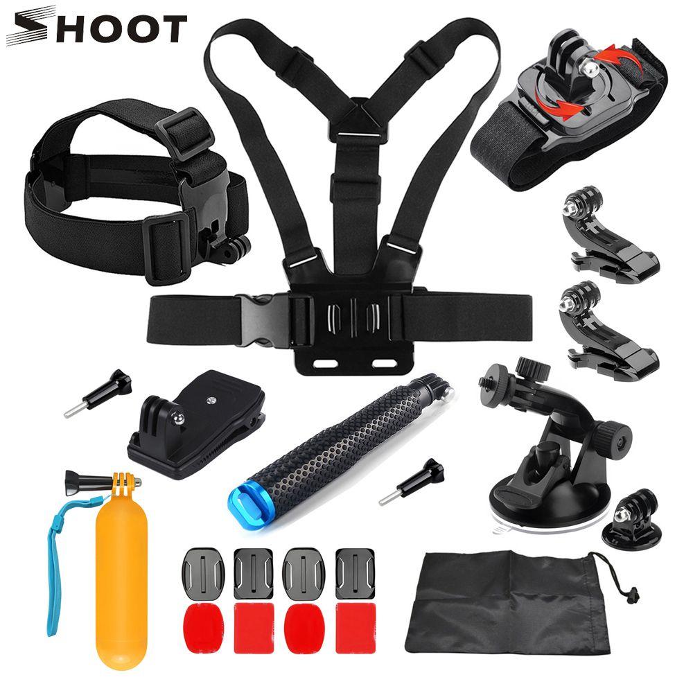 SHOOT for GoPro Accessories Set for GoPro Hero 6 5 4 3 Sjcam Sj7 Xiaomi Yi 4K Eken H9 H9r Go Pro Action Camera Accessories Kits