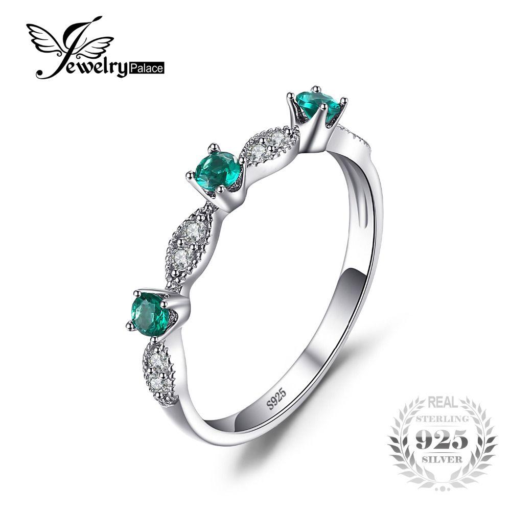 JewelryPalace 3 piedras Ronda Creado Esmeralda Anillos de Compromiso de Boda Para Las Mujeres Genuino 925 Plata Esterlina de La Manera Joyería Fina