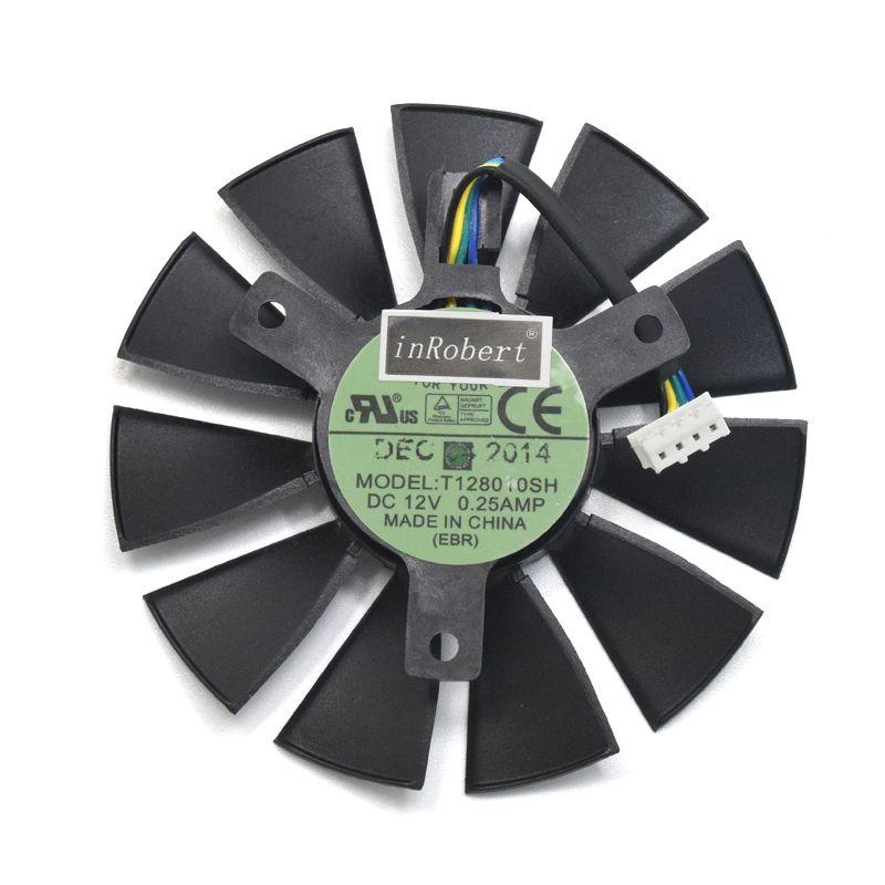 75mm T128010SH DC 12V 0.25A Cooler fan For ASUS STRIX GTX1060 1050 GTX960 GTX950 GTX750Ti R9 370 Graphic Card