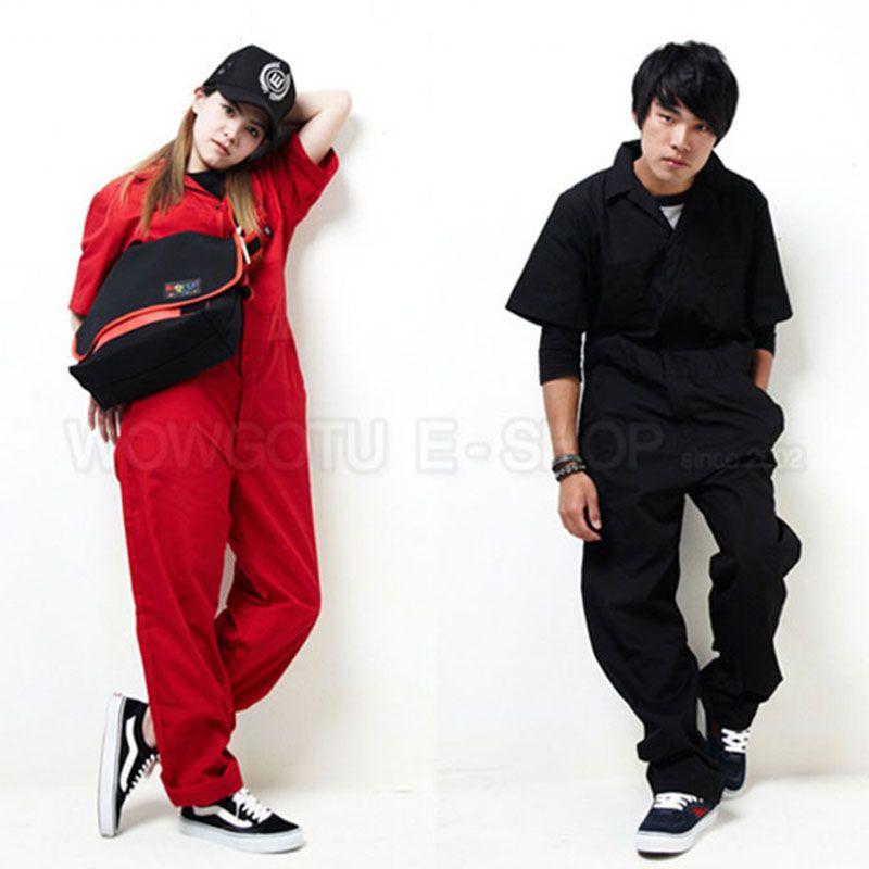 Women men hip hop dancing coverall jumpsuit 2016 summer fashion short-sleeve one piece overalls solid color Plus Size S-XXXL