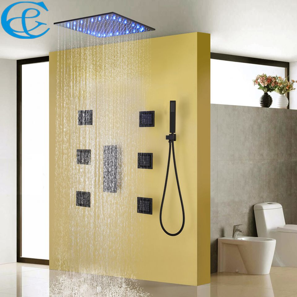 Bathroom Shower Faucet Set Blacken Shower Panel Rain Ceiling Water Temperature LED Shower Head Bath & Shower Valve Mixer Holder