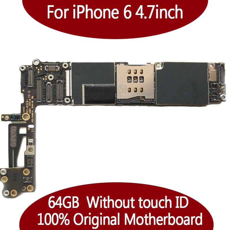 64GB IOS system logic <font><b>board</b></font> for iphone 6 4.7inch 100% Original unlocked motherboard without touch ID Mainboard+chips