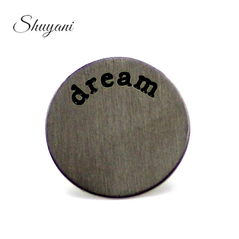 10PCS 22mm Letter Dream Pleates Charms Stainless Steel Floating Locket Window Plates for 30mm Living Memory Locket