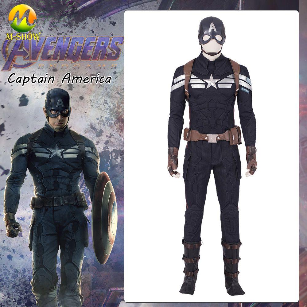 Avengers Endgame Captain America Cosplay Kostüm Avengers 4 Steve Rogers Kostüm Full Set Anzug Für Halloween Custum Gemacht