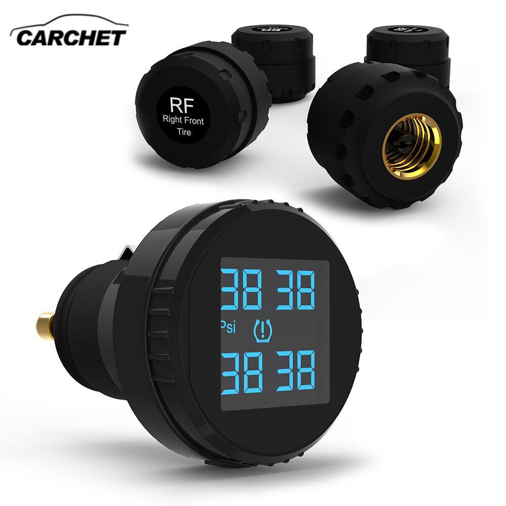 CARCHET Tyre Pressure Monitoring System TPMS LCD Screen 4 Sensors Cigarette Lighter Real Time tpms Car Detector Diagnostic-tool