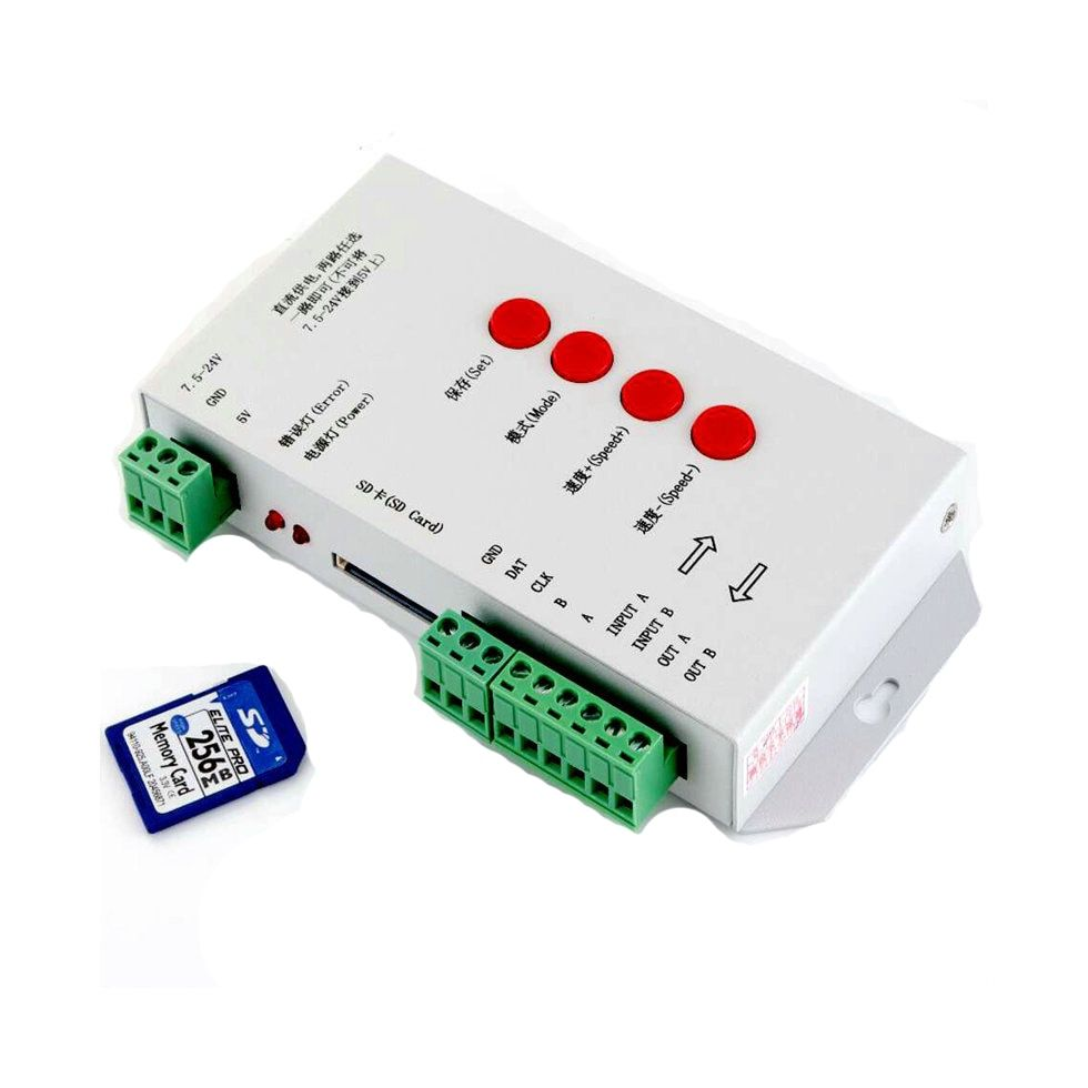 T-1000S SD Card LED Controller Pixel Led Control Pixel Controller Support DMX512 ws2811 RGB Controller with 256MB Memory card