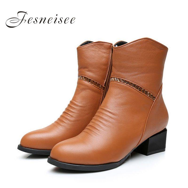2017 Estilo Vintage de Cuero Genuino de Las Mujeres Botas de Tacones Cuadrados Mujeres del Zurriago Suave Zapatos Cremallera Lateral Botines Plus size41-43