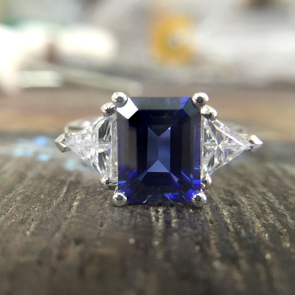 14K White Gold 3.21ct Emerald Cut 7x9mm Lab Created Sapphire Engagement With 1ctw white Moissanite Ring Free shipping