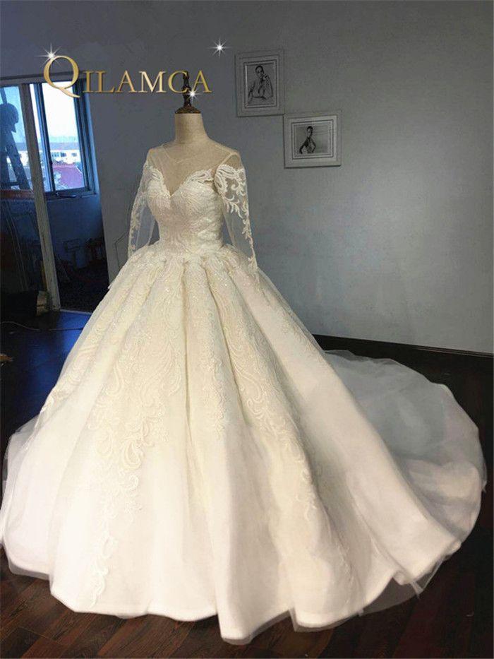 Hohe Qualität Langarm Spitze Appliqued Puffy Ballkleid vestidos de casamento Kleid Luxus Brautkleider 2018