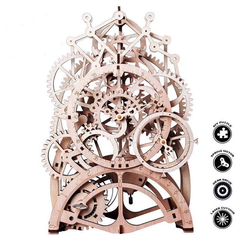 ROBOTIME 4 modèles de bricolage créatif Modèle mécanique 3D en bois réalisé par découpe laser Jeu de puzzle à assembler Jouet cadeau pour enfant adolescent et adultes LK