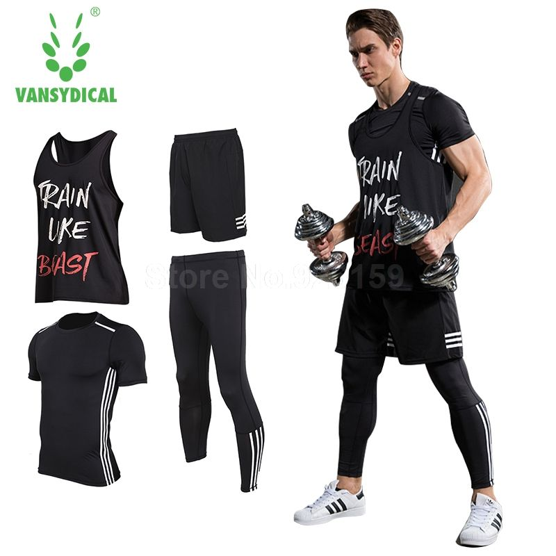 Vansydical Mens Running Sets Sports Suits 4pcs For Men Short Compression Tights Gym Fitness T Shirt Pants Running Pants Sports