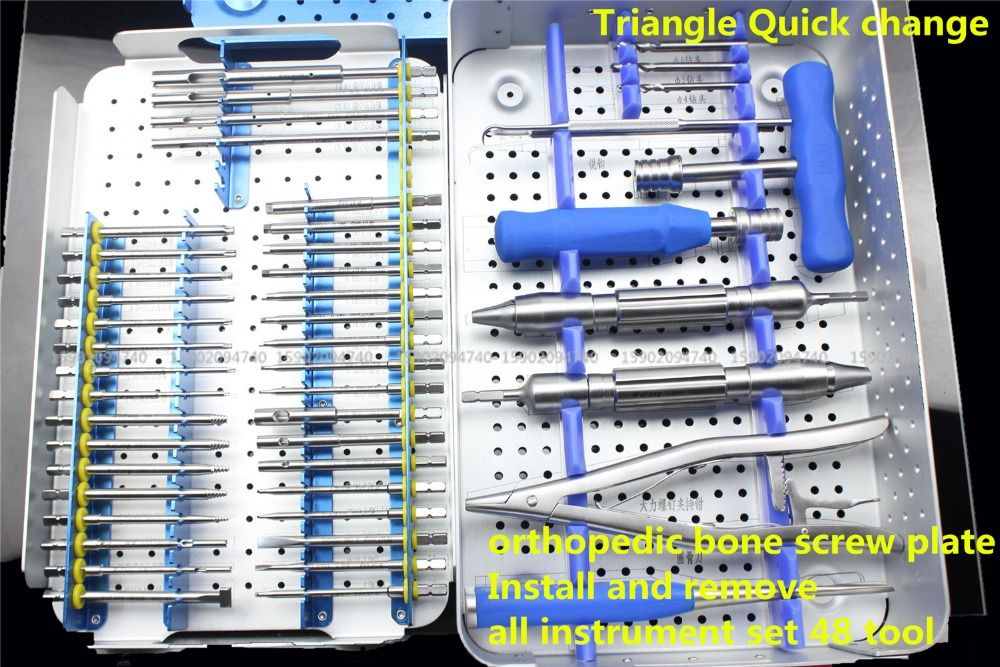Medizinische orthopädie instrument knochenschraube platte Installieren entfernen alle instrument set 48 tool kit Slip Gebrochen Extractor schraubendreher