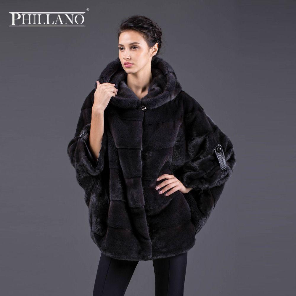 Hot PHILLANO New Batwing Sleeve Winter Women Real Fur Jacket With Hood Thick Warm Mink Scandinavia Denmark NAFA Coats YG11033-70