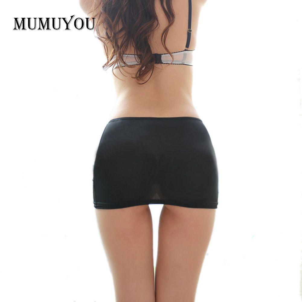 Mesdames chaud moulante Bandage élastique jupe Micro Mini érotique taille basse Clubwear discothèque Sexy couleur unie noir/blanc 047-2615