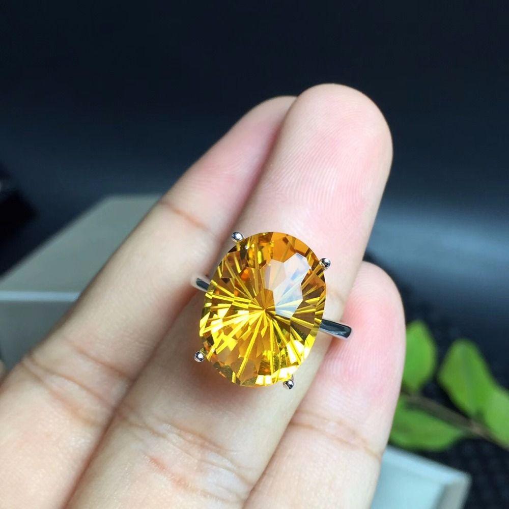 Natürliche Brasilianischen citrin ring, die meisten dazzling edelstein ring, die lady lieblings edelstein. 925 sterling silber