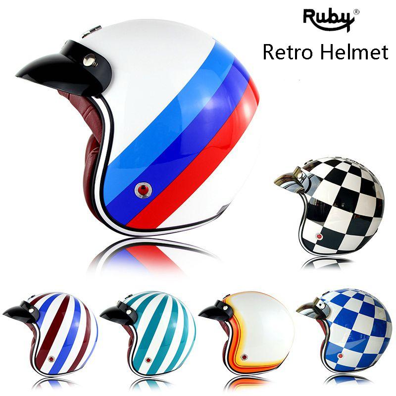 Ruby Pavilion Vintage Motorcycle Harley Helmet  Motor Bike Capacetes Open Face Casco Retro Helmet
