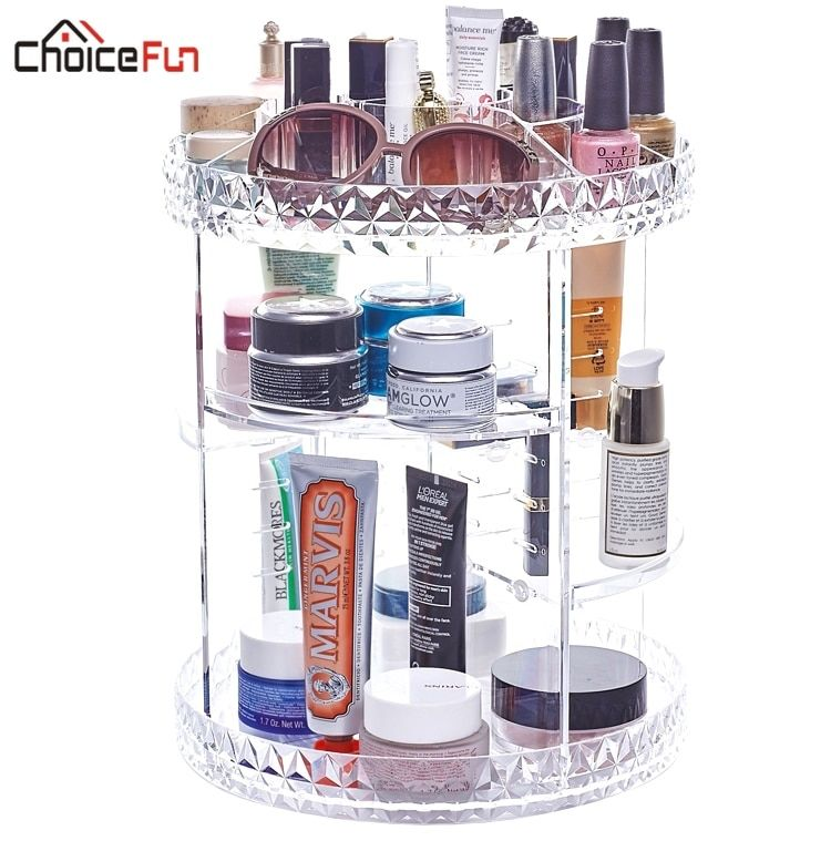 CHOIX AMUSANT Tournant Grand Acrylique Organisateur Cosmétique En Plastique Transparent Bain De Stockage Salle De Bains Étagère Rack pour le Maquillage