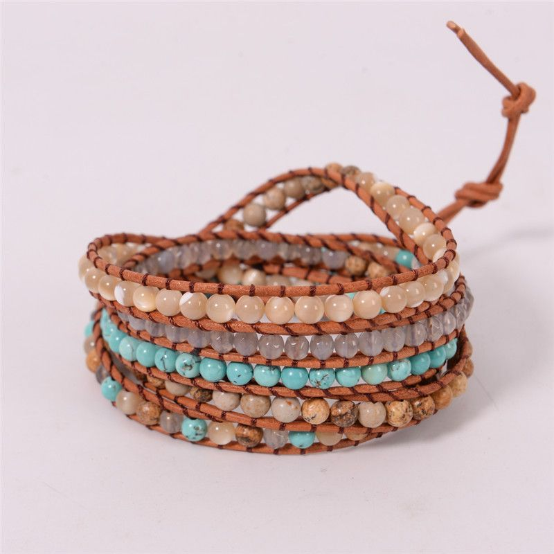 2018 New Jewelry 5 Strands Natural Stone Bead Handmade Leather Bracelet Wrap Bracelet HandWork Drop Shipping Gift