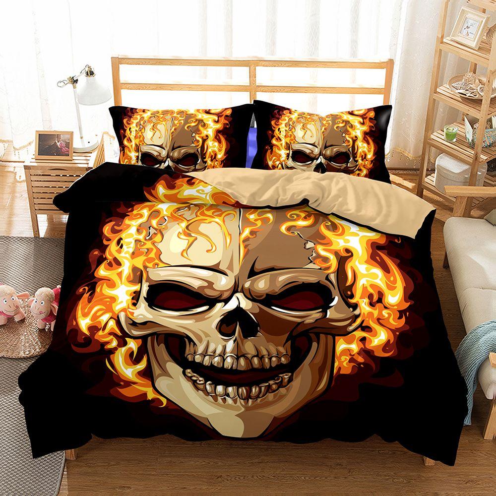 Lai Yin Sun HOT Sale 3D Pattern Sugar Skull <font><b>Flame</b></font> Bedding Set Super King Queen Size Spring Bed Linen Bed Sheet Set 2/3PCS