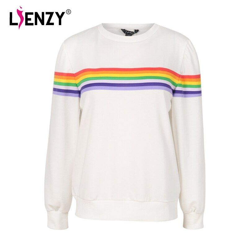 LIENZY Spring Rainbow Women Sweatshirt White Loose Stripes Print Female Hoodies Long Sleeve Casual Woman Pullovers Tops