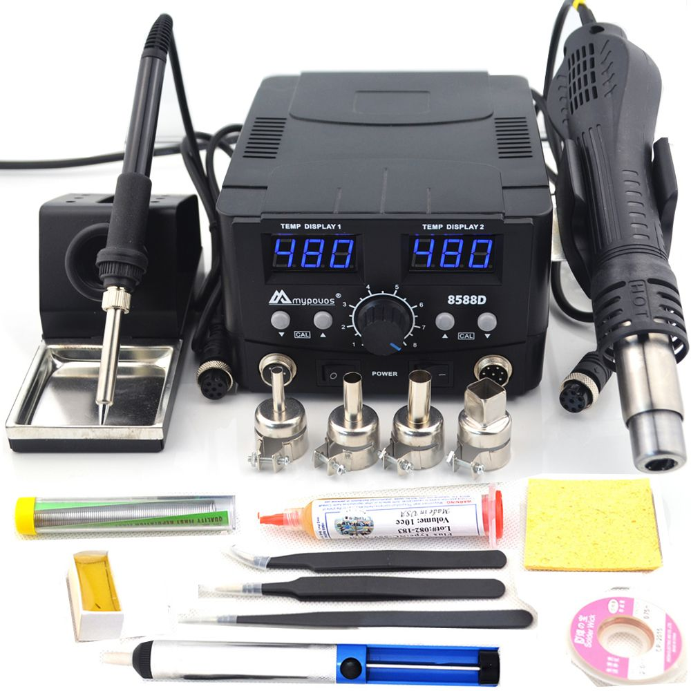 2 IN 1 800W LED Digital Soldering Station Hot Air Gun Rework Station Electric Soldering Iron For Phone PCB IC SMD BGA Welding