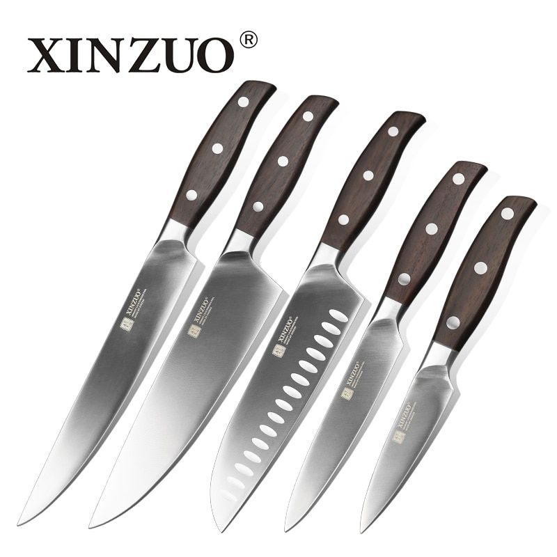 XINZUO NEW High quality 3.5+5+8+8+8inch <font><b>paring</b></font> utility cleaver Chef bread knife stainless steel Kitchen Knife sets free shipping
