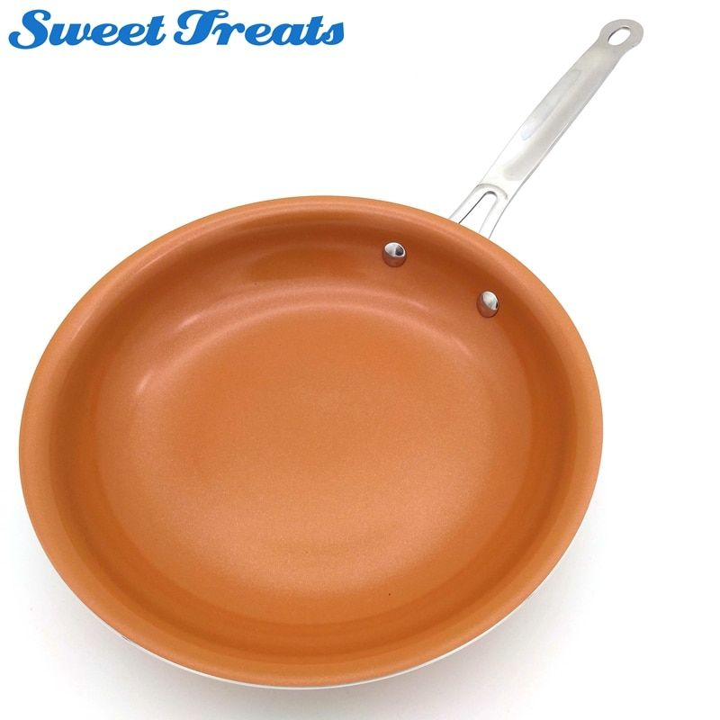 Sweettreats Non-stick Copper Frying Pan with <font><b>Ceramic</b></font> Coating and Induction cooking,Oven & Dishwasher safe