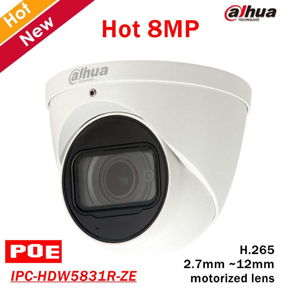 8mp Dahua POE IP Camera IPC-HDW5831R-ZE 2.7mm ~12mm motorized lens Built-in Mic Max. IR LEDs Length 50m H.265 Security camera