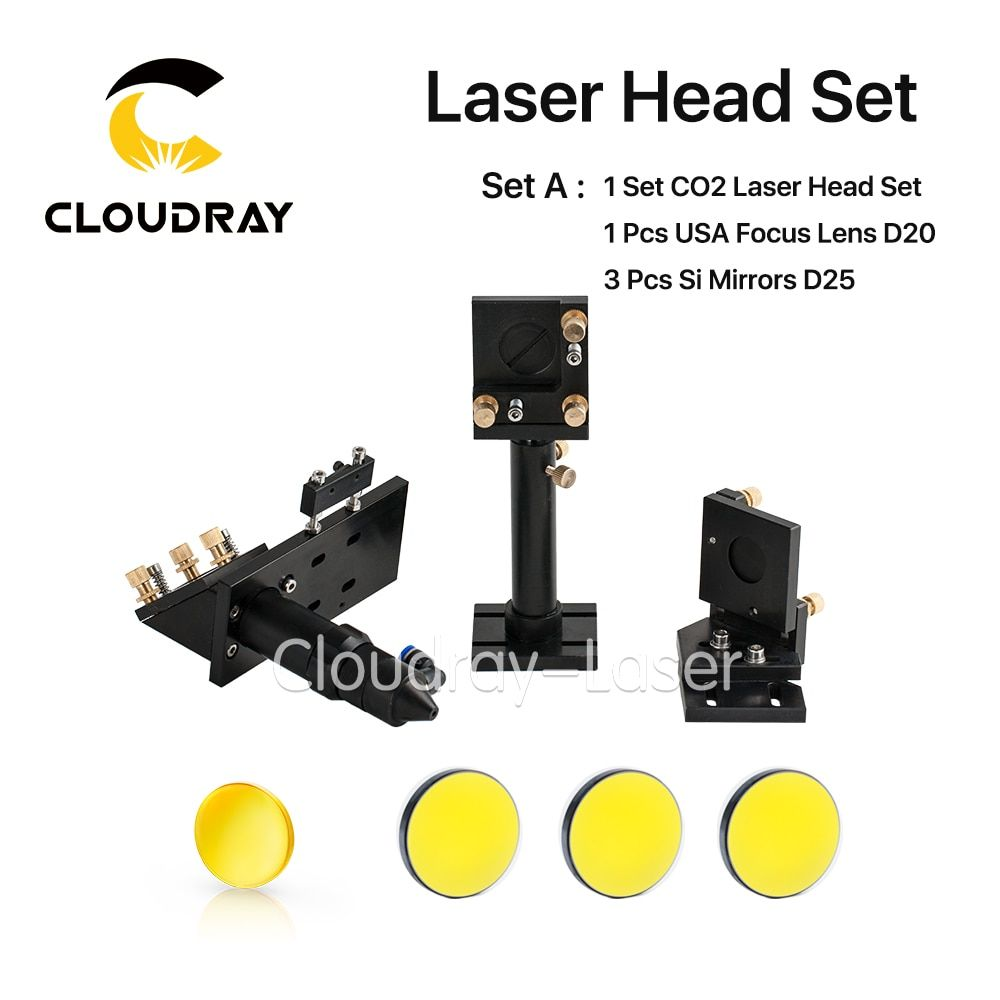 CO2 Laser Head Set Kit + 1 Pcs Dia.20mm ZnSe Focus Lens + 3 Pcs Dia.25m Mo / Si Mirror 25mm for Laser Engraving Cutting Machine