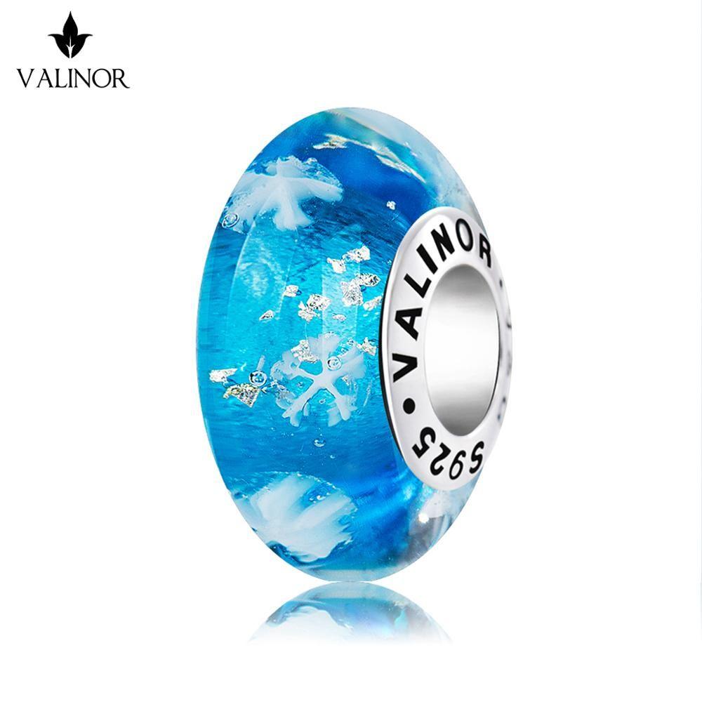Vidéo! Sonw dans le ciel perles de verre charmes 925 en argent Sterling idéal pour bracelet et bracelets pour femmes bijoux VDLL002