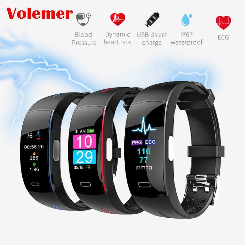 P3 Plus écran couleur pression artérielle bande intelligente moniteur de fréquence cardiaque PPG ECG Bracelet intelligent Activit Fitness Tracker Bracelet intelligent