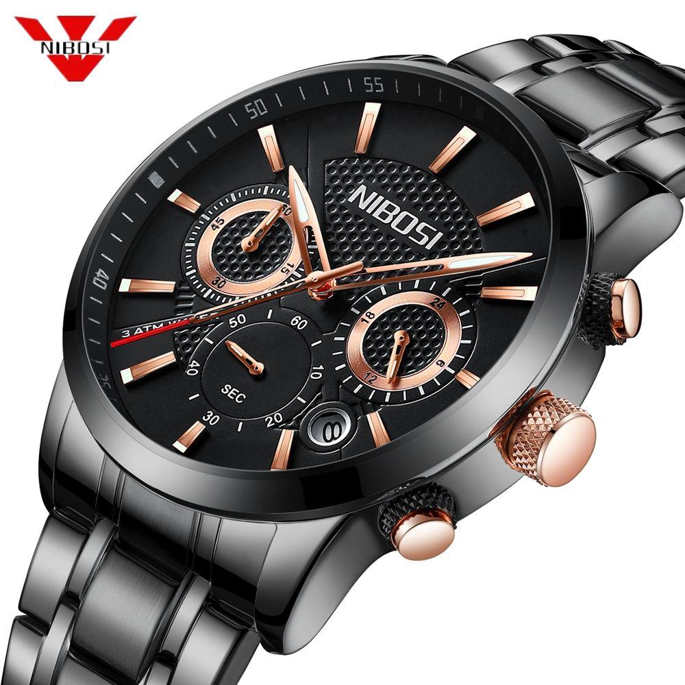 NIBOSI 2018 Fashion Watch Men Sport Quartz Clock Mens Watches Top Brand Luxury Steel Business Waterproof Watch Relogio Masculino