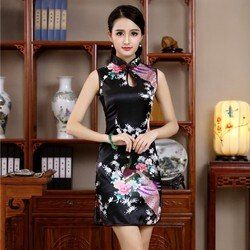 Nuevo Satén de las mujeres sin mangas Sexy vestido Qipao estilo chino mandarín Collar Formal corto Cheongsam flor M L XL XXL JY055