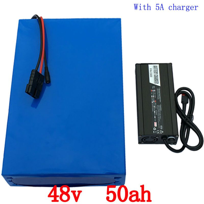 Free shiping 48V 50ah 2000w Electric bike Lithium battery 48V 50AH bicycle battery 26650 5000MAH Cell 50A BMS 54.6V 5A Charger