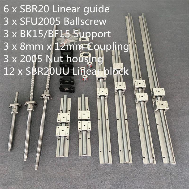 SBR 20 Linearführungsschiene 6 Set SBR 20-300/700/1100mm + Kugelumlaufspindel Set RM2005 SFU2005-350/750/1150mm + BK/BF15 CNC Teile