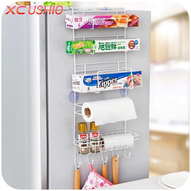Refrigerator Side Metal Storage Rack Kitchen Condiment Storage Hanger Rack Multilayer Fridge Storage Organizer Kitchen Utensils