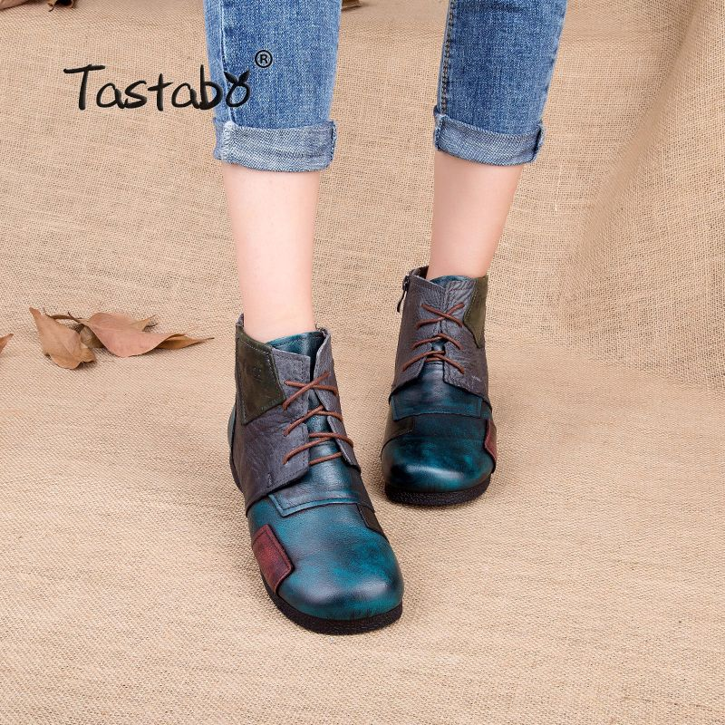 Tastabo 2017 Fashion Handmade Boots For Women Ankle Shoes Vintage Mom Shoes Folk Style Sapphire Genuine Leather Women Boots