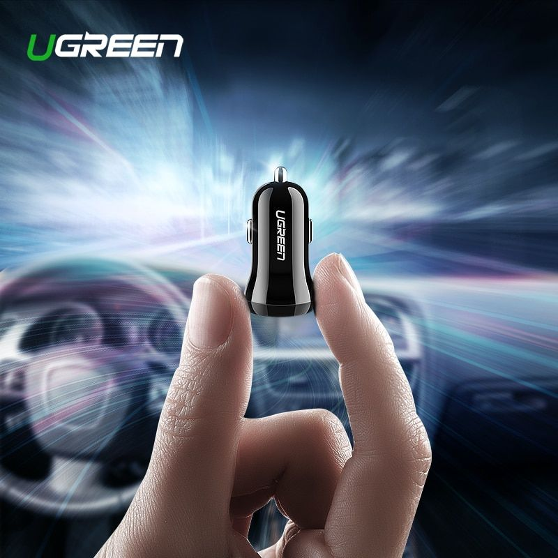 Ugreen USB Car Charger for Phone 4.8A Dual USB Fast Charger for iPhone X XS 8 Huawei Phone Mini Car-Charger Adapter USB Charger