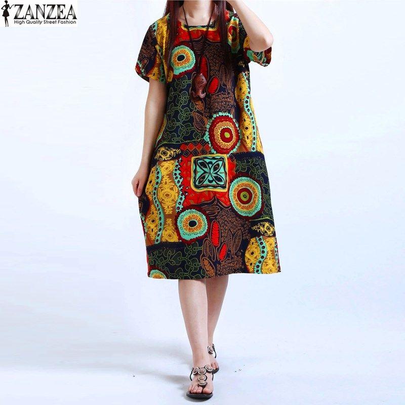 M-5XL ZANZEA NEW Womens O Neck Floral Print Short Sleeve Cotton Linen Casual Knee Length Dress Baggy Boho Tunic Kaftan Plus Size