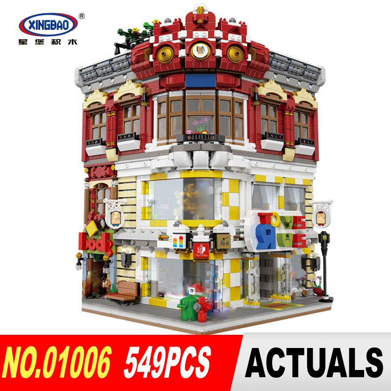 DHL XingBao 01006 5491Pcs Genuine Creative MOC City Series The Toys and Bookstore Set Building Blocks Bricks Toy Model Gift