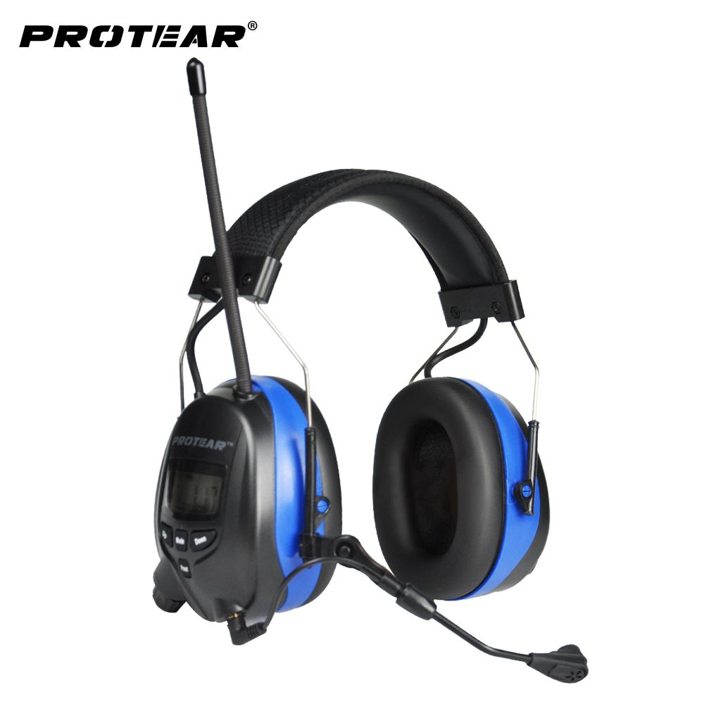 Protear NRR 25dB Bluetooth 4.3 Hearing Protector with Microphone Ear Defender Ear Protection with AM/FM Ear muffs For Mowing