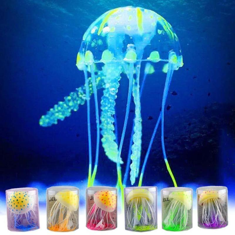Glowing Jellyfish Fish Tank Aquarium Decoration Mini Submarine Ornament Underwater Pet Decor S2