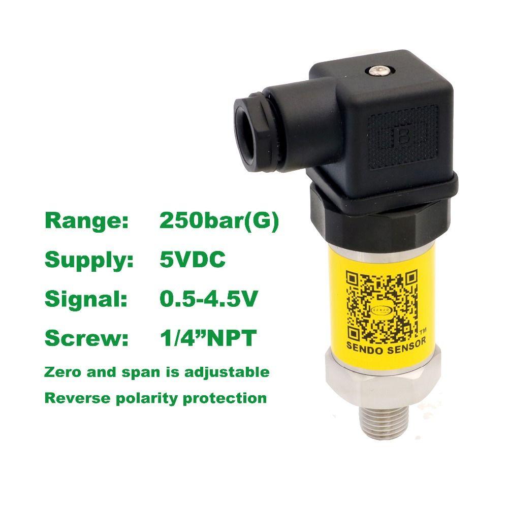 pressure sensor 0.5-4.5V, 5VDC supply, 25MPa/250bar gauge, 1/4