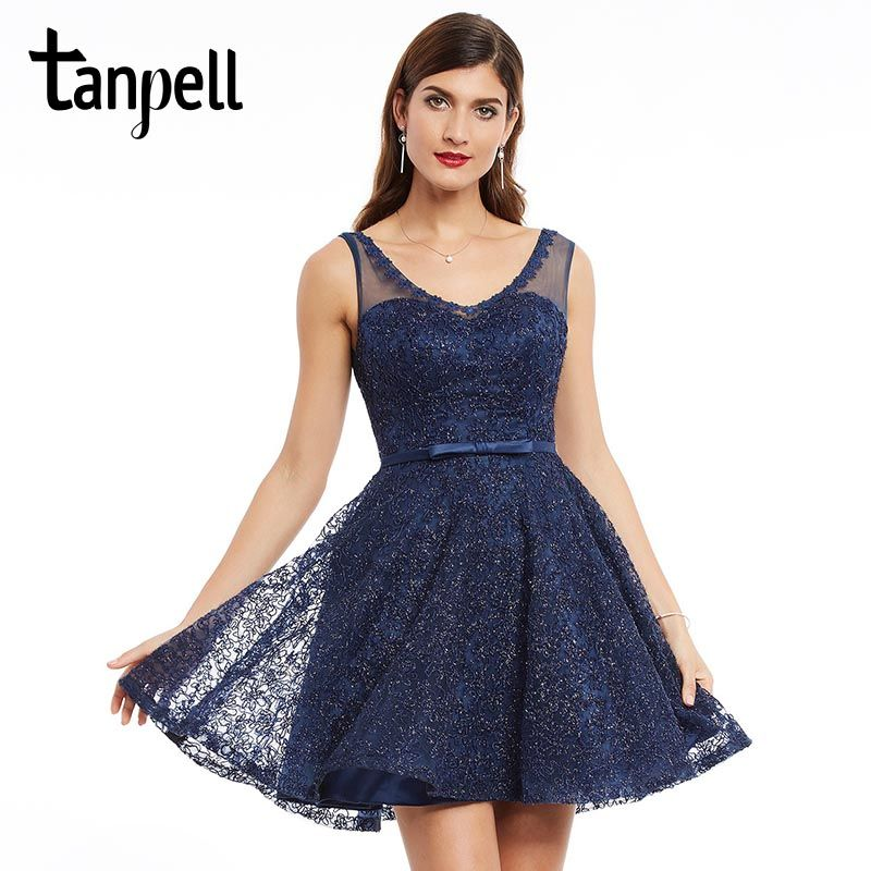 Tanpell lace homecoming dress dark navy appliques sleeveless mini a line gown cheap women v neck short formal homecoming dresses