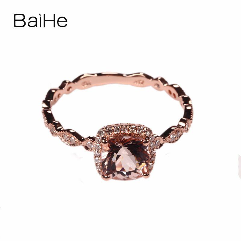 BAIHE 6MM CUSHION MORGANITE PAVE DIAMONDS Solid 10K ROSE GOLD ENGAGEMENT Wedding RING Filgree Art Deco Antique Fashion Gift Ring