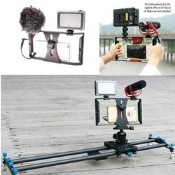 Portable Dual Handheld Video Cage Stabilizer Film Steady Handle Grip Rig For Smart Mobile Phones Video Light Microphone 2018