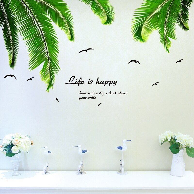 [Shijuehezi] пальмовых листьев стикеры стены Котировки Виниловые DIY листья деревьев птиц стены искусства для гостиной украшения кухни декор для ...