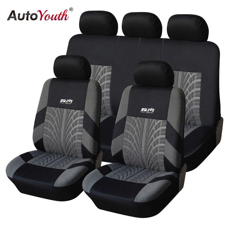 AUTOYOUTH offre spéciale 9 pièces et 4 pièces housse de siège de voiture universelle adaptée à la plupart des voitures avec détail de piste de pneu protection de siège de voiture
