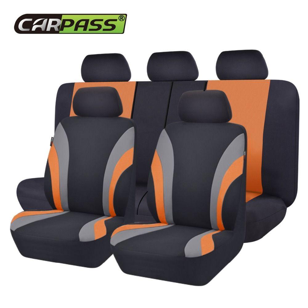 Voiture-pass nouvelle série de sport coloré siège de voiture couvre universel style de voiture ensemble complet intérieur Airbag de voiture Compatible Support de siège